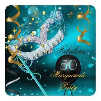 Partie turquoise de mascarade d'or d'anniversaire carton d'invitation  13,33 cm