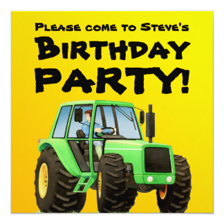 Partie verte du tracteur de l'enfant carton d'invitation  13,33 cm
