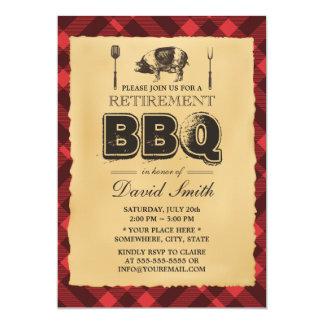 Partie vintage de BBQ de rôti de porc de retraite Carton D'invitation 12,7 Cm X 17,78 Cm