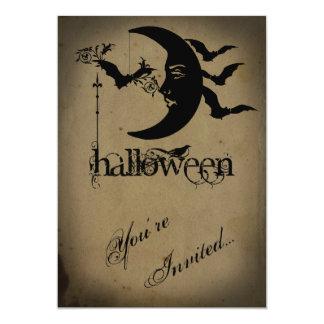 Partie vintage de Halloween de croissant de lune Carton D'invitation 12,7 Cm X 17,78 Cm