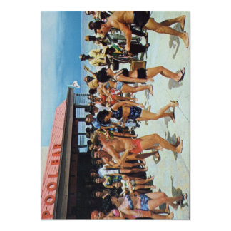 Partie vintage de plage des années 50 carton d'invitation  12,7 cm x 17,78 cm