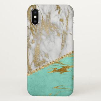Parties scintillantes d'or blanc et marbre coque iPhone x