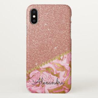 Parties scintillantes d'or de rose de rose et coque iPhone x