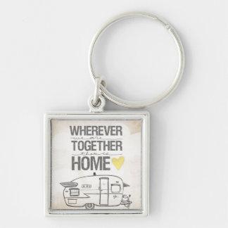 Partout où nous sommes ensemble remorque vintage porte-clé carré argenté