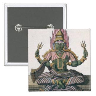 """Parvati, de """"voyage Indes aux. et d'une La Chine""""  Badge Carré 5 Cm"""