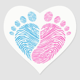Pas de bébé sticker cœur