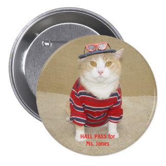 Passage de hall drôle personnalisable de chat badge rond 7,6 cm