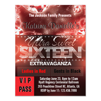 Passage du sweet sixteen VIP de lueur de diamant Carton D'invitation 10,79 Cm X 13,97 Cm