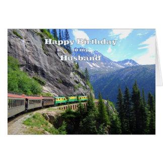 Passage et anniversaire blancs de train de mari carte de vœux