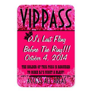 PASSAGE rose de la partie VIP de Bachelorette Carton D'invitation 8,89 Cm X 12,70 Cm