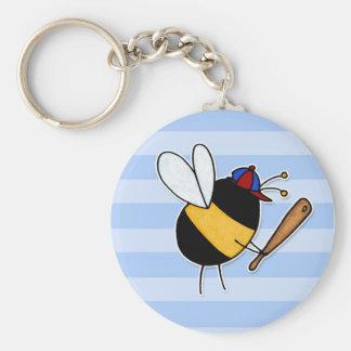 passe-temps - plutôt abeille frappant des homeruns porte-clé rond