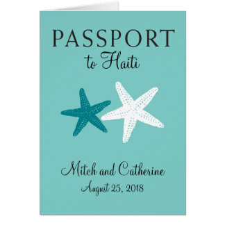 Passeport de mariage d'étoiles de mer du Haïti Cartes De Vœux