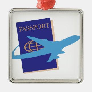 Passeport Ornement Carré Argenté