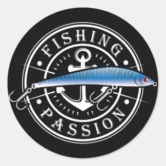 Passion de pêche sticker rond