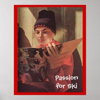 Passion vintage de sports d'hiver pour le ski posters