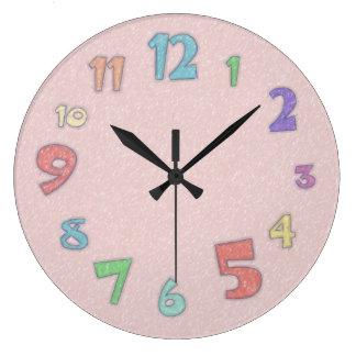 Pastel assez rose grande horloge ronde