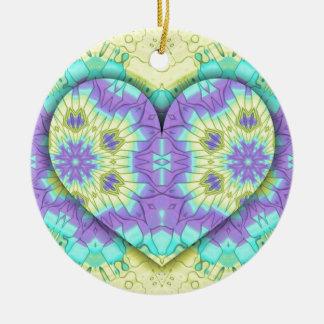 Pastel de fête vibrant 3d en forme de coeur. ornement rond en céramique