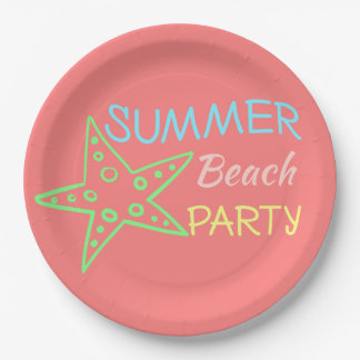 Pastels de partie de plage d'été jolis assiettes en papier