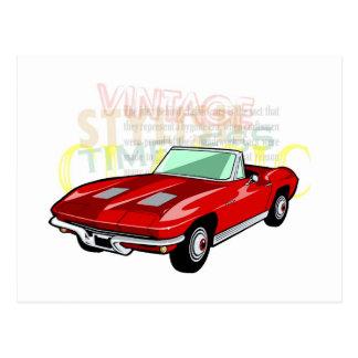 Pastenague de Corvette ou voiture de sport rouge Cartes Postales