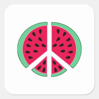 Pastèque de paix sticker carré
