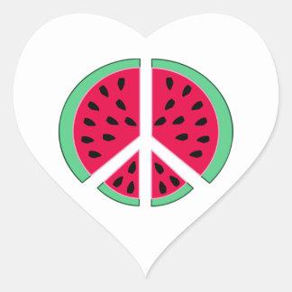 Pastèque de paix sticker cœur