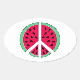 Pastèque de paix sticker ovale