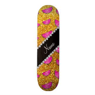 Pastèques jaunes nommées personnalisées de scintil plateaux de skateboards