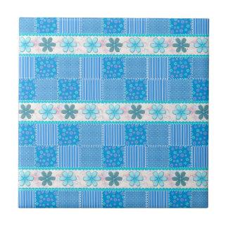 Patchwork bleu petit carreau carré