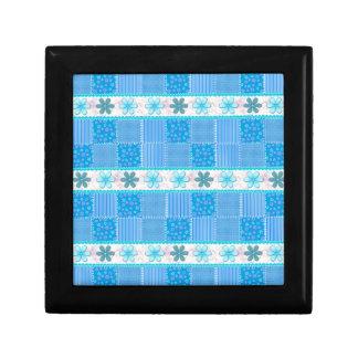 Patchwork bleu petite boîte à bijoux carrée