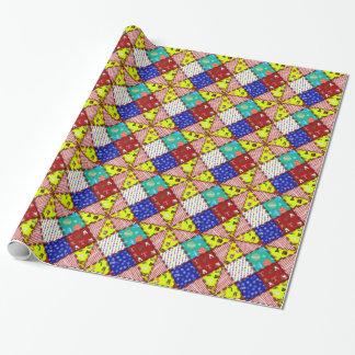 Patchwork coloré de Noël Papiers Cadeaux Noël