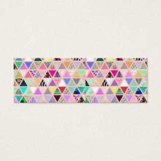 Patchwork floral abstrait de pastel de triangles mini carte de visite