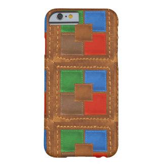 Patchwork simili cuir élégant de carrés d'artisan coque barely there iPhone 6