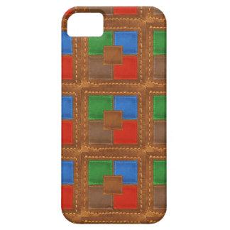 Patchwork simili cuir élégant de carrés d'artisan coque barely there iPhone 5