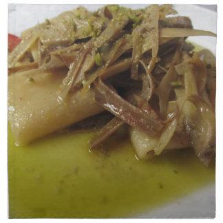 Pâtes traditionnelles de Paccheri d'Italien avec Serviette En Tissu