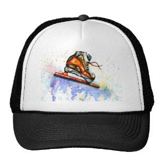 Patin de glace d'aquarelle casquettes
