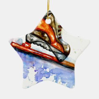 Patin de glace d'aquarelle ornement étoile en céramique