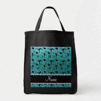 Patinage artistique bleu de scintillement d'oeufs sac en toile épicerie