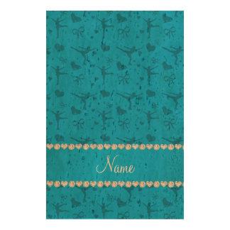 Patinage artistique nommé personnalisé de bleu de impressions sur papier en liège