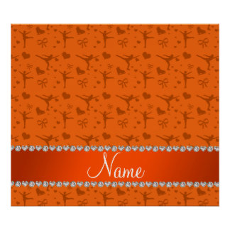 Patinage artistique orange nommé personnalisé affiche