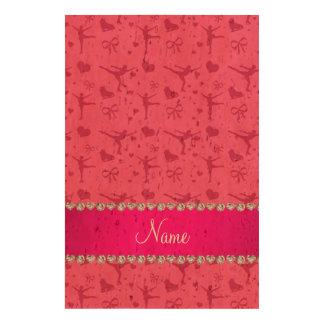 Patinage artistique rose nommé personnalisé papier de liège