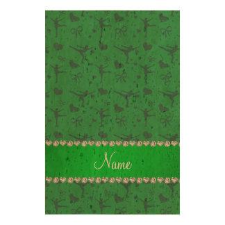 Patinage artistique vert nommé personnalisé papier en liège