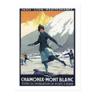 Patinage de glace - affiche olympique de promo de carte postale