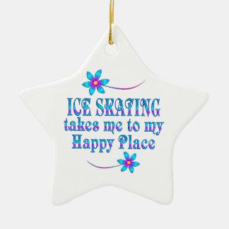 Patinage de glace mon endroit heureux ornement étoile en céramique