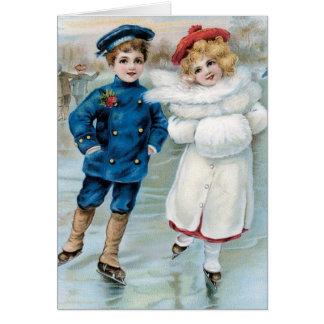Patinage de glace vintage d'enfants de carte de