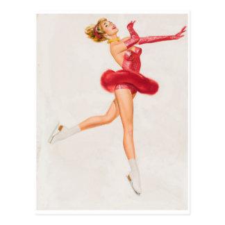 Patineur de glace en rouge. Pin vers le haut d'art Carte Postale