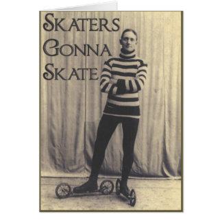 Patineurs allant patiner… carte de vœux