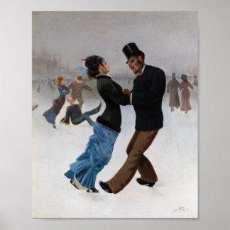 Patineurs de glace romantiques vintages affiche