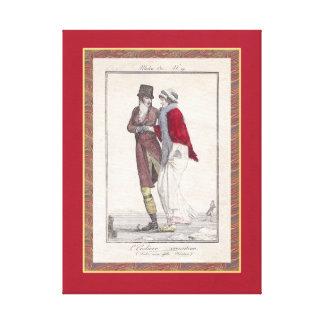 Patineurs romantiques de Noël de décor vintage de  Impressions Sur Toile