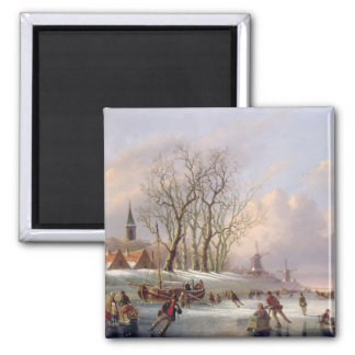 Patineurs sur une rivière congelée avant des mouli magnet carré