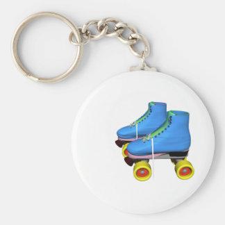Patins de rouleau bleus porte-clé rond